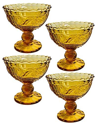(Ornate Pressed Glass Large Stemmed Dessert Bowl (Amber))