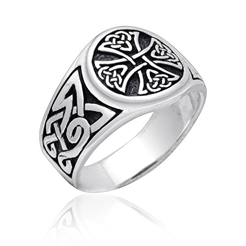 - 925 Sterling Silver Celtic Irish Knot Knights Templar Cross Band Ring (13)