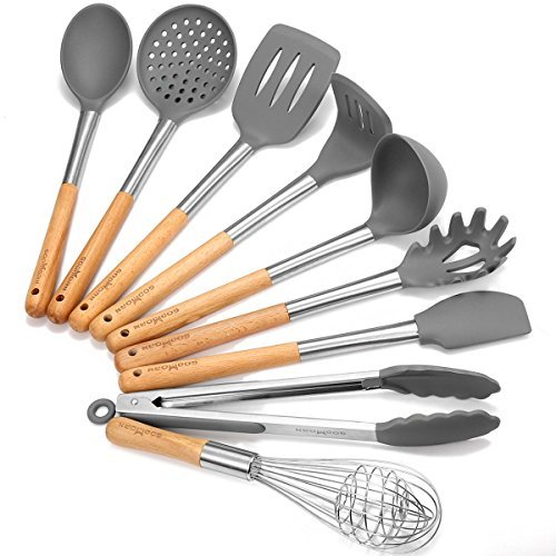 Godmorn Nonstick Utensil Set - 9 Piece Kitchen Utensils Cooking Tool - Silicone and Stainless Steel and Wooden Handle Kit - For Pots and Pans with Slotted Turner , Soup Ladle , Skimmer , Pasta Server
