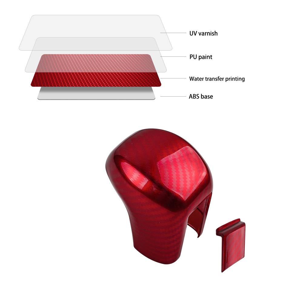Thenice 10th Gen Civic Gear Shifting Knob Cover ABS Red Carbon Fiber Grain CVT Change Lever Decorative Trim for Honda Civic Sedan 2020 2019 2018 2017 2016 Automatic Transmission