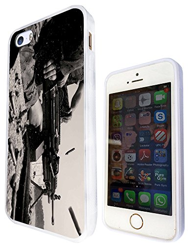 915 - Army Scene Equipment Gun Look Cool Design iphone 5 5S Fashion Trend Protecteur Coque Gel Rubber Silicone protection Case Coque - Blanc