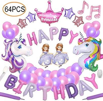 Yidaxing 64pcs Unicorn Party Decoration Supplies Set De Cumpleaños con 2pcs Enorme Unicornio Globos 1 Happy Birthday Banner 48 Globos para Girls Kids ...