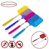 Aremazing Fly Swatter Telescopic Heavy Duty Extendable Fly Swatter Contoured Rubber Grip 2 Pack Assorted Colors