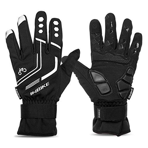 INBIKE Men's Winter Thermal Full Finger Gloves Gel Padded Reflective for Cycling Skiing Skateboarding 969R Black XL - Mens Full Finger