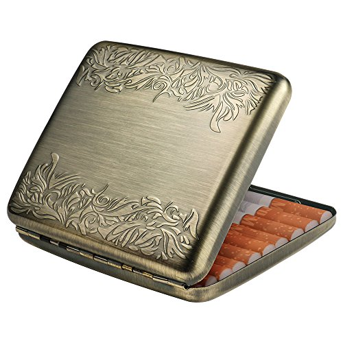 Vintage Bronze Brocade Cigarette case-Metal Cigarettes Box Double Sided Spring Clip Open Pocket Holder for 20 Cigarettes.]()