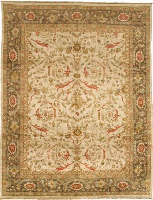 Due Process Stable Trading JI2ZIEGCR0WA01215 12 x 15 ft. Jinan Ziegler Area Rug44; Cream & Walnut from Due Process Stable Trading