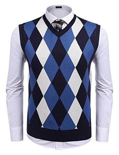 Coofandy Men's Casual Slim Fit V-neck Rhombus Business Knitwear Sweater Vest