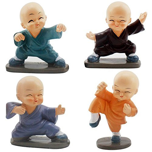4pcs Figurines Crafts Ornament Buddha Kung Fu Monk Lovely Dolls Home Decoration Decor Toy Gift