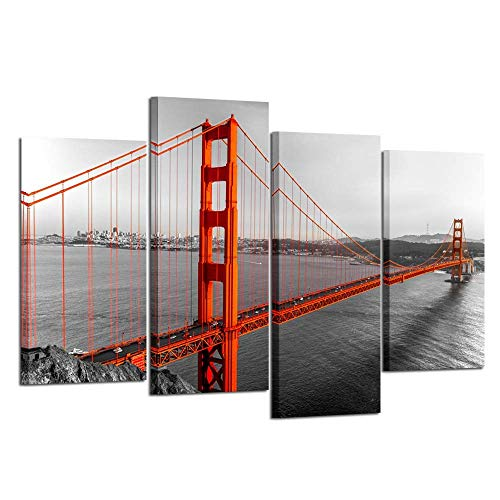 (Kreative Arts Extra Large 4 Pieces Black White and Red Canvas Prints Wall Art San Francisco Golden Gate Bridge Pictures Cityscape Painting Printed on Canvas Art Work for Walls Decoration L64xH43)