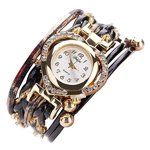 Hunputa Fashion Faux Leather Band Diamond Heart Beads Winding Analog Quartz Movement Wrist Watch for Women Gift (Black)
