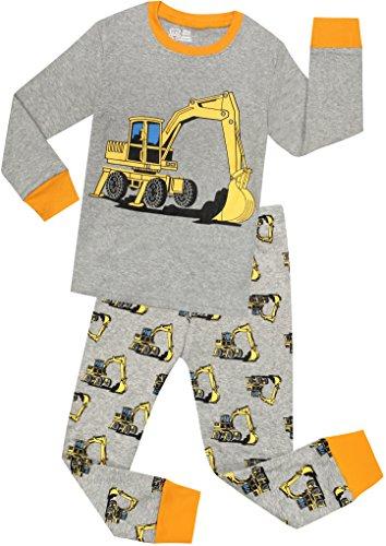 Little Boys Truck Pajamas Christmas Children PJs 100% Cotton Sleepwear Pants Set Size 7 Years