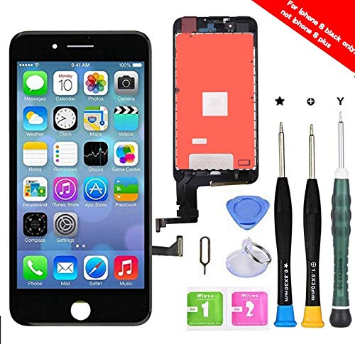 Premium Screen Replacement Compatible with iPhone 8 4.7 inch Full Assembly -LCD Touch Digitizer Display Glass Assembly with Tools, Fit Compatible with iPhone 8 (Black) (Iphone 4 Front And Back Glass Replacement Kit)
