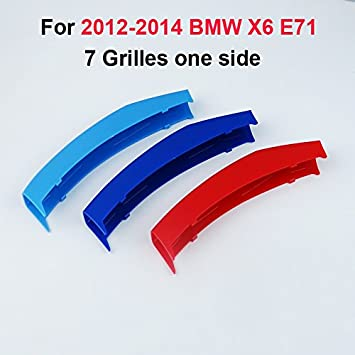 11 Grilles Longzhimei Fit for BMW 5 Series E60 525i 528i 530i 535i 545i 550i 2004-2010 M-Colored Front Grille Insert Trim Strips Grill Cover 3Pcs
