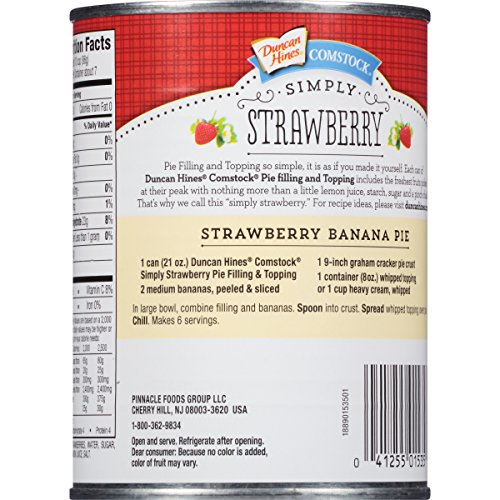 Comstock Simply Pie Filling & Topping, Strawberry, 21 Ounce (Pack of 8) by Comstock (Image #1)