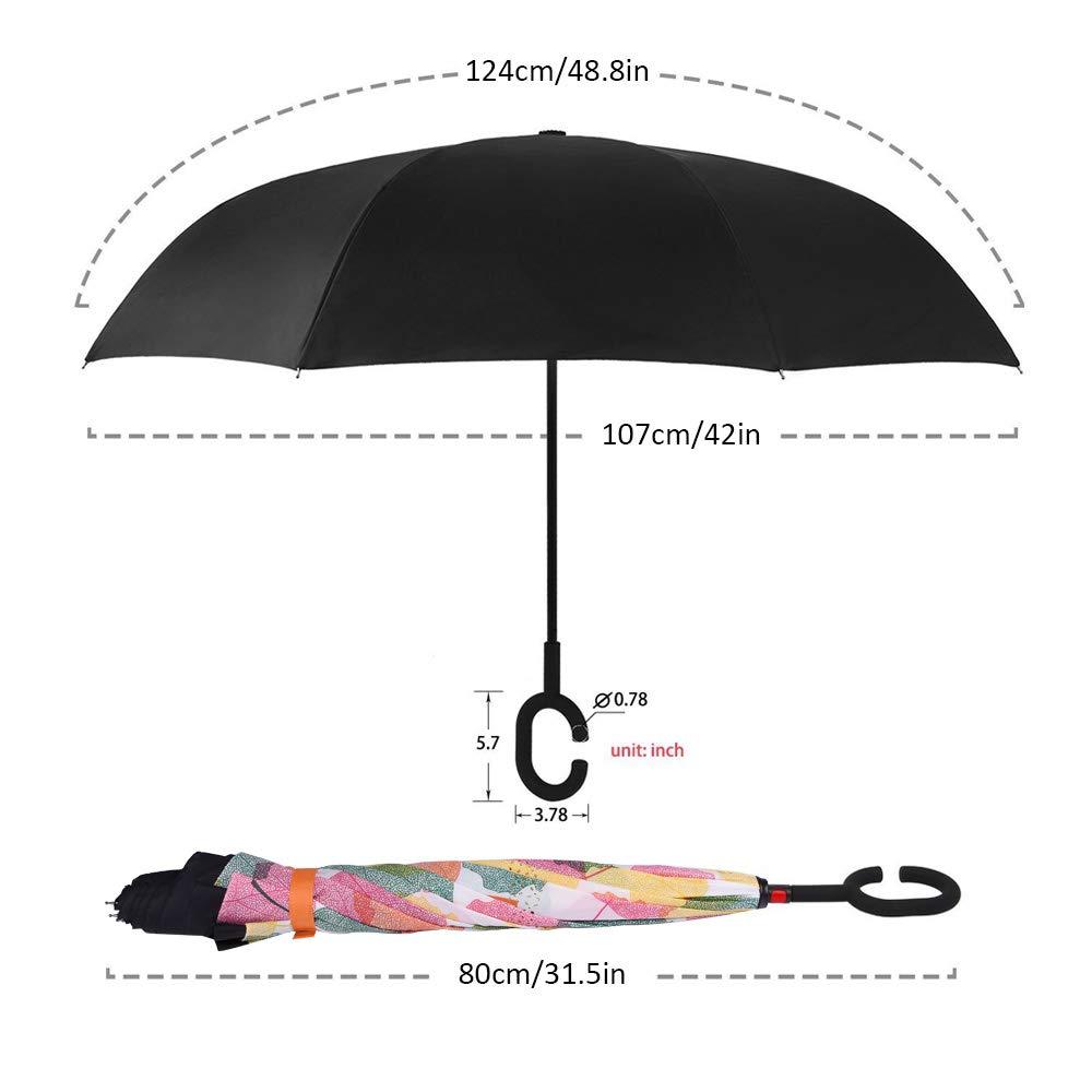 sunvito Nuovo Ombrello, Doppio Strato Anti-UV Antivento a Forma di C a Manico Rovesciabile Ombrello Pieghevole, Miglior Design per Viaggio, Auto, All\'aperto