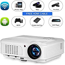 Wireless Wifi Video Projector, HD 1080P Support Outside/Home Theater Projectors LED LCD Android System Support Airplay HDMI Multimedia Projector for iPad Mobile Phone Xbox Wii PS4 Artwork Tracing