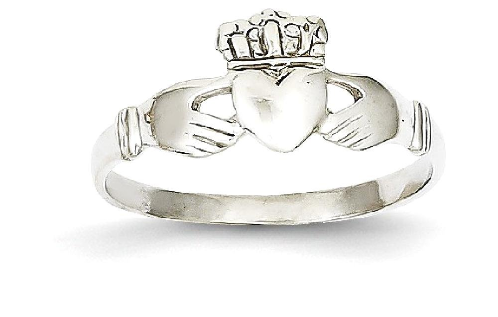 ICE CARATS 14k White Gold Ladies Irish Claddagh Celtic Knot Band Ring Size 6.00 Fine Jewelry Gift Set For Women Heart