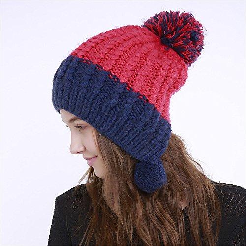 URIBAKE Women's Knit Wool Color Block Warm Beanie Winter Hat Ski Crochet Cap Pom -