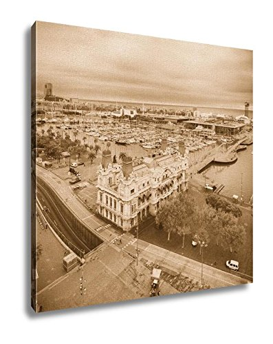 Ashley Canvas, Barcelona Harbor And Port Vell From Columbus Statue Viewpoint Spain, Sepia, 32x32, AG6378250 by Ashley Canvas