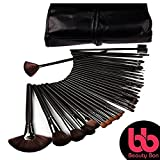 Professional Cosmetic Makeup Brushes Set - Beauty Make Up Face Kit Eyeshadow Foundation Eyeliner Bronzer Concealer Contour Brush for Blending Powder & Cream With Organizer Holder Case 32 Piece Black