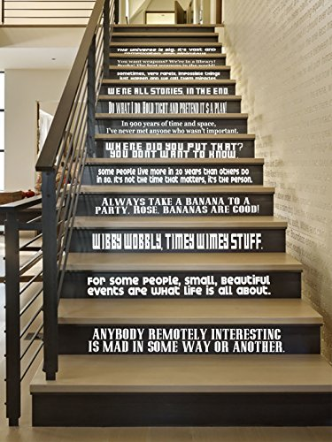 DW Quote Set [WHITE] Large Vinyl Wall Stairs Decal by GMDdecals ONEliners Collection 24'' x 2-4'' EACH QUOTE Dr Doctor Inspired Who Décor by GMDdecals