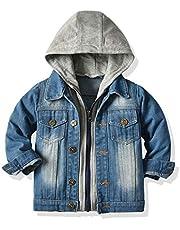 JMOORY Baby Boys Denim Jacket Kids Toddler Zipper Hoodie Jeans Jacket Top