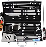 ROMANTICIST 21pc BBQ Grill Accessories Set with Thermometer - Ideal Grill Gift for Men Women on Birthday Wedding - Heavy Duty Stainless Steel Grilling Utensils with Non-Slip Handle in Aluminum Case