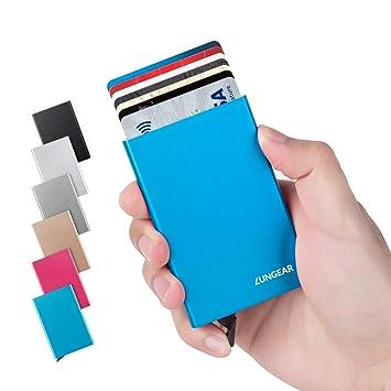 f70ec4bf9 LunGear Tarjetero para Tarjeta de Crédito RFID Bloqueo,Delgado Cartera de  Aluminio Mini Billetera de Metal Sostener 7 Carta para Hombres y  Mujeres(Azul): ...