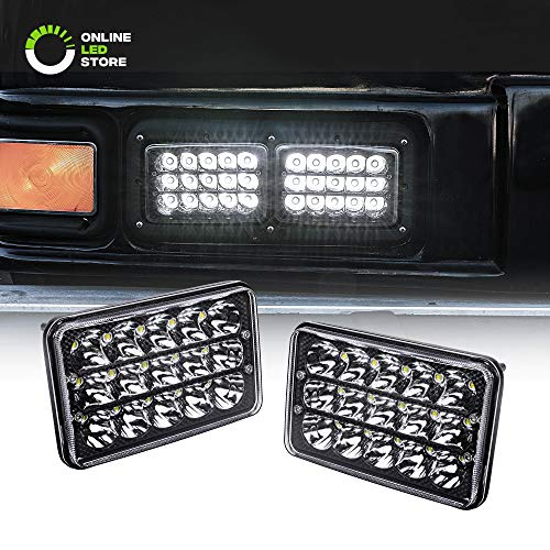 2pc Universal 4x6 45W LED Rectangular Sealed Beam Headlight Assembly with Black Housing [H4 Socket] [High/Low Beam] [IP67] (H4651 H4652 H4656 H4666 H6545 Replacement) - for Jeep Wrangler & More