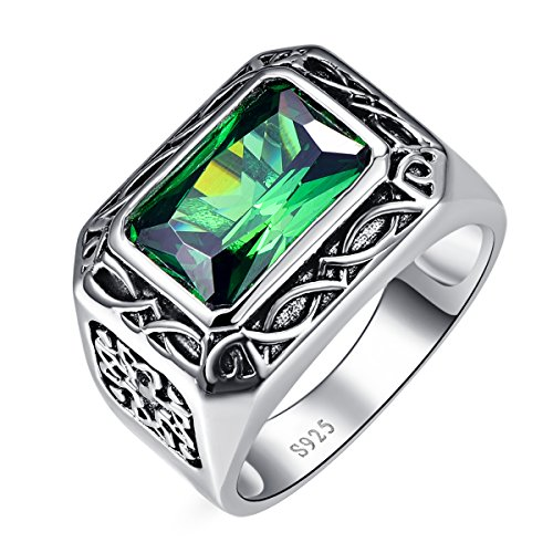 BONLAVIE Men's 925 Sterling Silver Radiant Cut 6.85 Carat Created Emerald & CZ Engagement Ring Size 9 (Carved Emerald Ring)