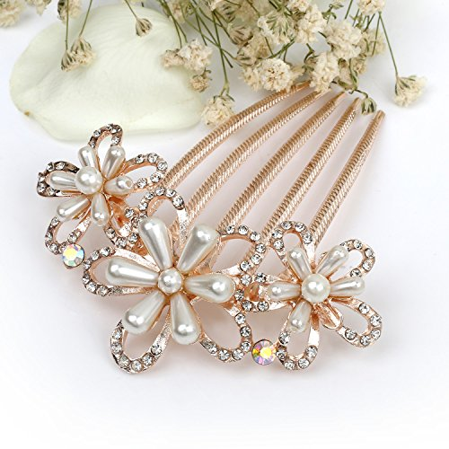 Price comparison product image Chicer Wedding Hair Combs with Crystal and Beads for Bride & Bridesmaid.