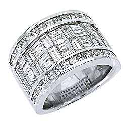 18k White Gold Men's Invisible Set Princess & Baguette 6.29 Carats Diamond Ring
