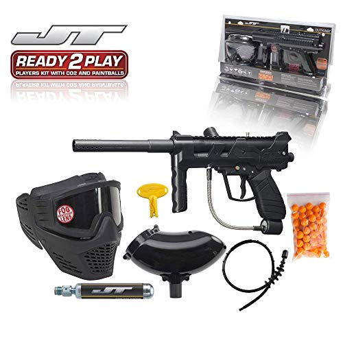 (JT Outkast .68Cal Paintball Kit Includes Guardian Goggle, 90G Co2 Tank, 200Rd Loader, Black )