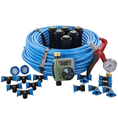Orbit 50020 In-Ground Blu-Lock Tubing System and Digital Hose Faucet Timer, 1-Zone Sprinkler Kit, Blue, Black (Renewed)