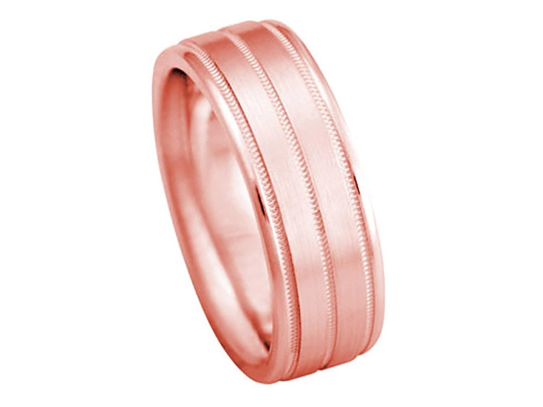 Men\'s 14K ROSE GOLD MILGRAIN 7mm COMFORT FIT WEDDING BAND | Amazon.com