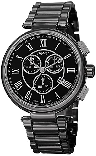 August Steiner Men's AS8148BK Black Swiss Chronograph Quartz Watch with Black Dial and Gray Bracelet