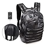 Leegoal PUBG Level 3 Backpack, Waterproof Camouflage Laptop Backpack, Tactical Laptop Backpack with USB Charging PUBG Bag for Hiking, Climbing, Camping (Camouflage Black)