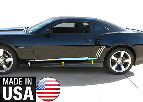 Made in USA! Works with 2010-2015 Chevy Camaro Body Side Insert Door Cover Chrome Stainless Steel Trim Molding Molding Accent 6PC