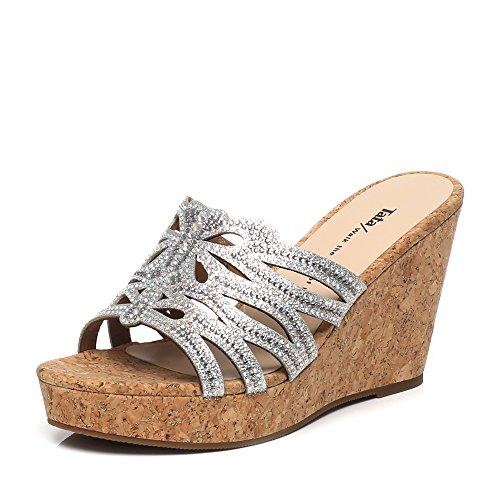ZPPZZP Mme sandales chaussons confortable style minimaliste 37EU argent
