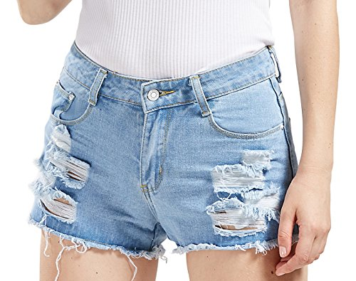 chouyatou Women's Perfectly Fit 5-Pockets Ripped Denim Jean Shorts (X-Small, LBlue) ()
