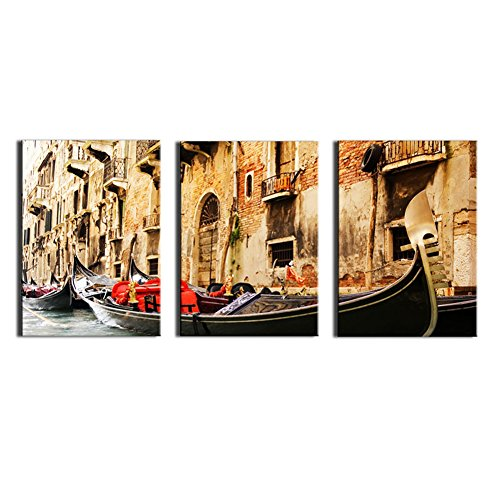 Venice Italy Photos - Melody Art - New Arrival 3 Panels/pcs Canvas Print- Europe Town Italy Water City Venice Landscape Painting Wall Art for Home Decor, Beautiful River City Pictures Stretched and Framed Artwork