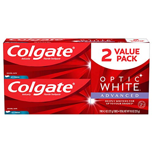 Colgate Optic White Advanced Teeth Whitening Toothpaste with Fluoride, 2% Hydrogen Peroxide, Icy Fresh – 4.5 ounce (2…
