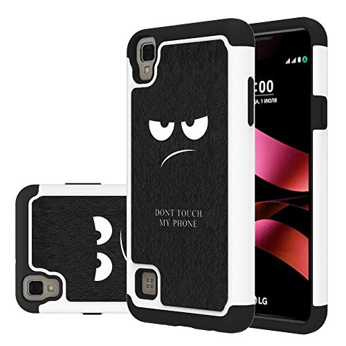 LG Tribute HD Case, LG X Style Case, LG Volt 3 Case,LEEGU [Shock Absorption] Dual Layer Heavy Duty Protective Silicone Plastic Cover Case for LG Tribute HD - Don't Touch My Phone