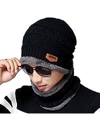 Men's Beanie Hat Scarf Set Knit Hat Warm Thick Winter Hat