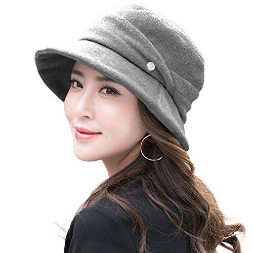 Womens Cloche Hats Ladies Wool Hat Winter 1920s Vintage Derby Church Bowler Bucket Hat Packable Grey SIGGI (Hat Wool Bucket)