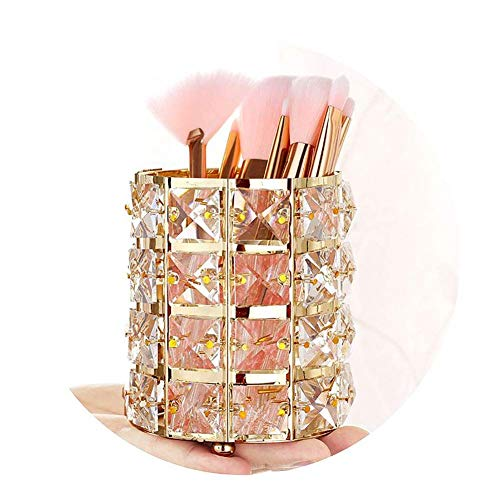 Pahdecor Handcrafted Crystal Rotating Makeup Brush Holder Eyebrow Pencil Pen Cup Collection Cosmetic Storage Organizer Vanity,Bathroom,Bedroom,Office Desk (Gold)
