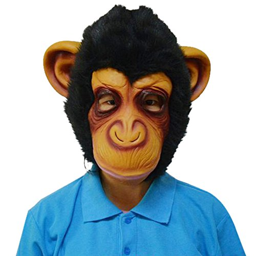 Novelty Cute Creepy Rubber Latex Monkey Orangutan Gorilla Face Head Mask Halloween Party Costume Decorations for Adult Men Women (Chimp)