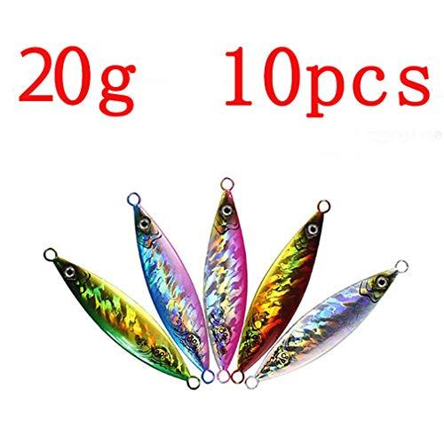 (Nafanio 10pcs/lot Lures Metal Jig 20g/30g/40g/60g/80g/100g/150g/200g Bass Baits)
