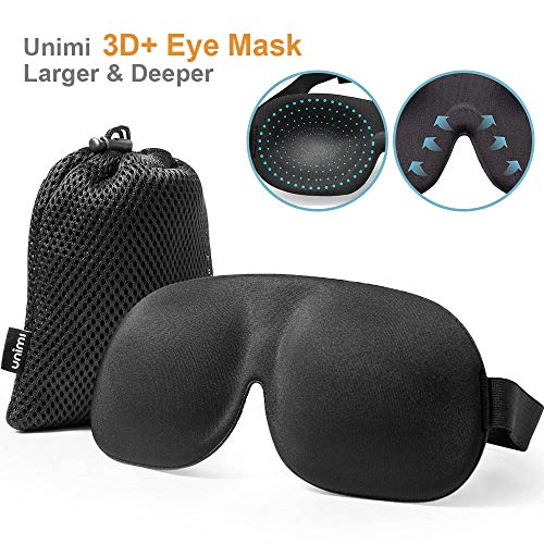 Eye Mask Sleeping Mask, UNIMI Wider 3D+ Contoured Blackout Eye Mask & Blindfold, No Pressure and Super Comfortable Sleep Mask, Eye Cover for Woman and Man(L)