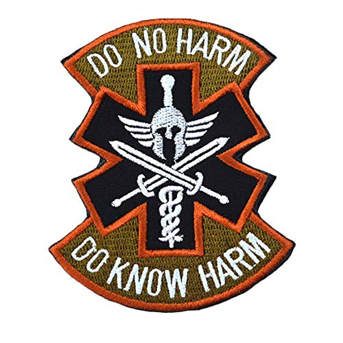 MMRM Army Morale Badge Armband Do Know No Harm Spartan Medic Tactical Patch Perfect for Jeans, Jackets, Vests (Brown) ()